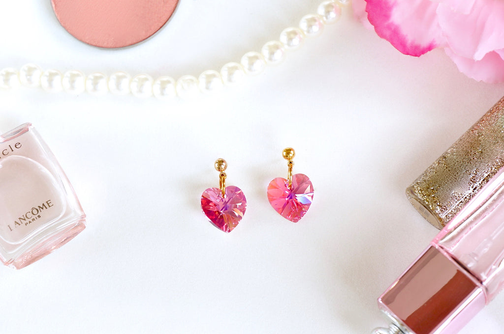 earrings in pink made with swarovski crystals divuscreations
