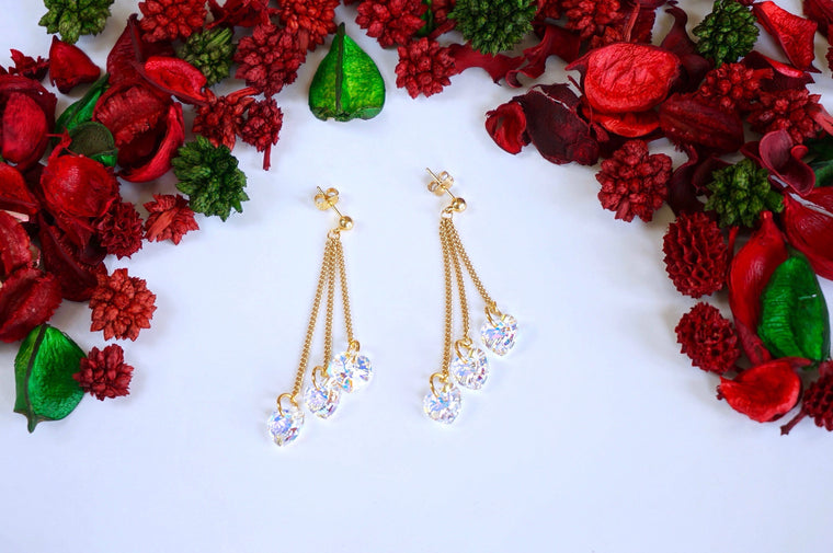Gold earrings with Swarovski crystals, shop online India