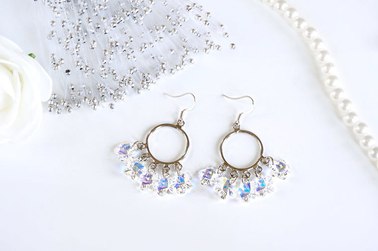 beautiful jhumikis dangling earrings made with Swarovski crystals