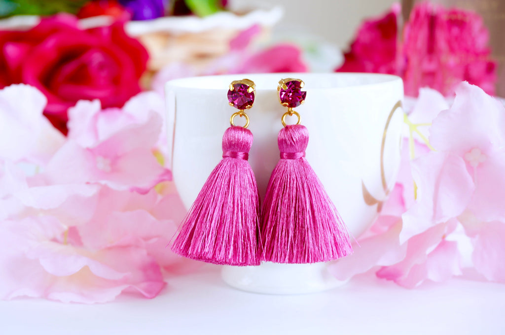 Pink Fuchsia bright earrings tassels divuscreations