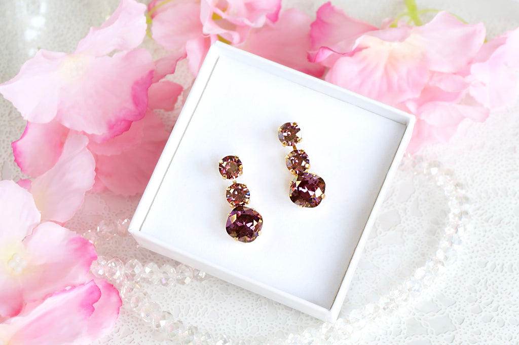 Amethyst coloured earrings DIVUS
