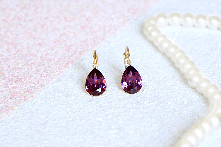 Amethyst coloured earrings divuscreations