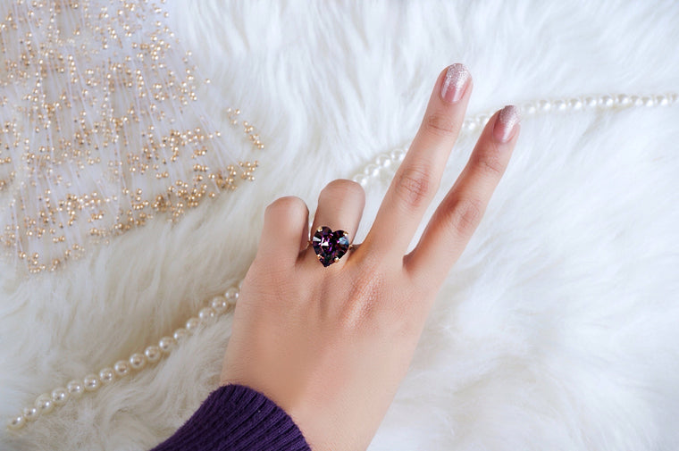 Purple amethyst ring studded with Swarovski crystal DIVUS