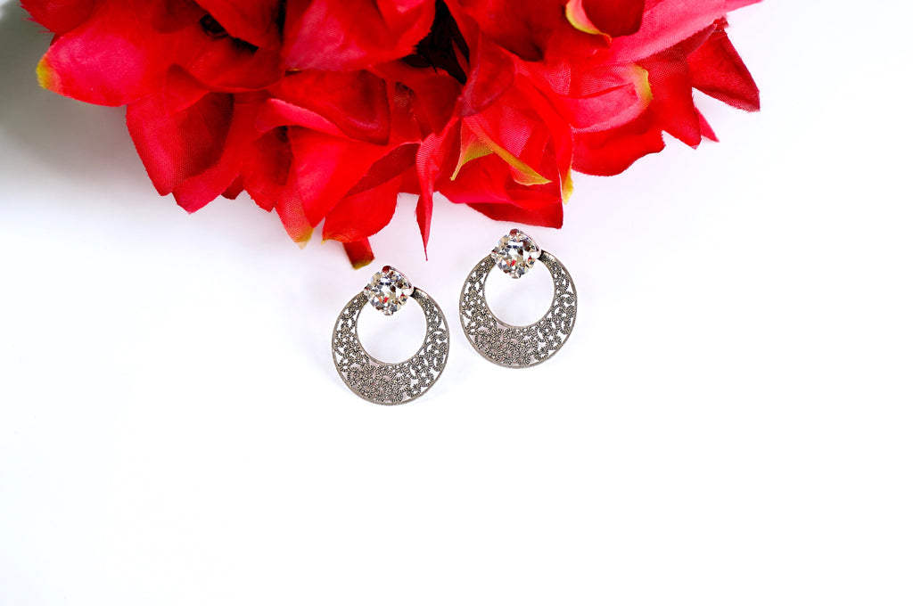 Antique silver vintage earrings stud style divuscreations