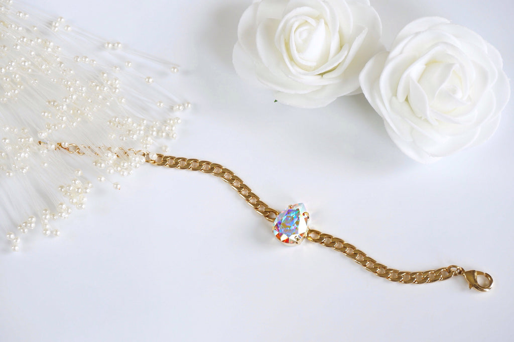 Swarovski studded bracelet made with gold plated chain at divuscreations.com