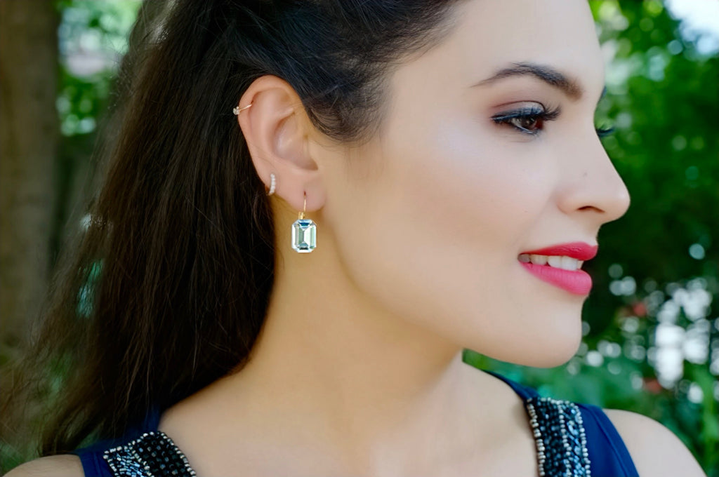 Princess cut earrings divuscreations
