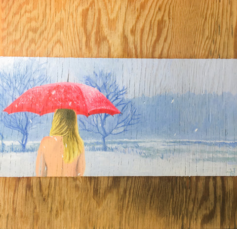 Nude Girl in Winter with Red Umbrella