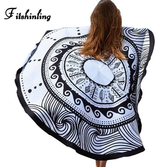 Fitshinling 2018 Boho beach cover up capes summer swimwear print sexy hot swimsuits outputs beachwear harajuku sarong  wrap sale