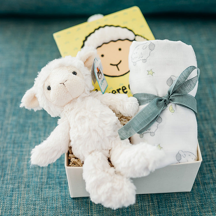 Sweet gift for a new baby boy or girl! A soft lamb, baby lamb book, and lamb swaddle make this a precious gift package to send for a newborn.