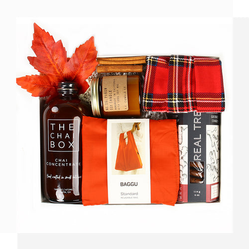 A brisk day with a warm chai latte in hand, crisp ginger cookies & the scent of cedar & pinon in the air. The Latte da gift is their fall day wrapped up in a cozy package! Send for any cheerful, seasonal occasion & warm them right up.