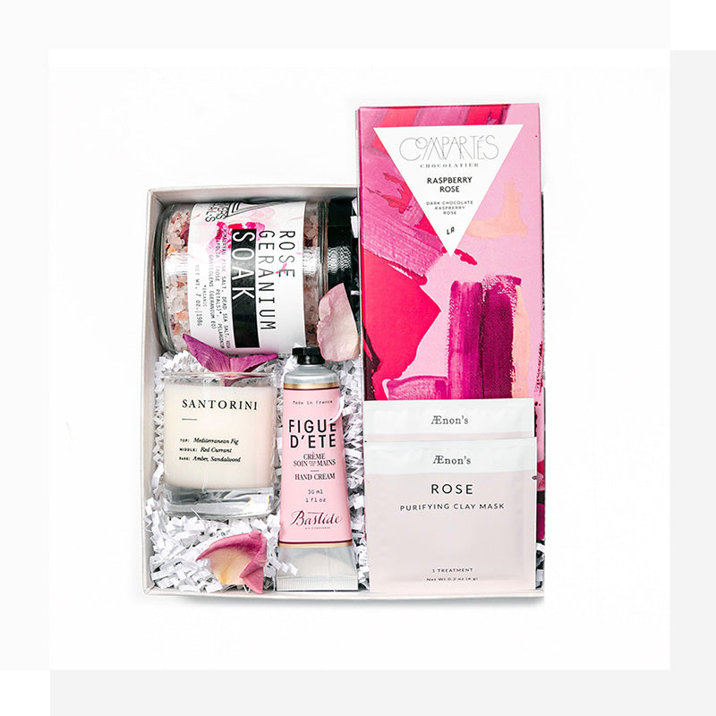 Cheerful & rosy, vibrant & bright; this rose-tinted gift will bring her pure delight! With calming, floral, feminine treats - this is the sweet rosy gift of her dreams. A women's birthday gift by Just Hit Send.