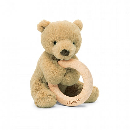 Plush Brown Bear with Wooden Ring