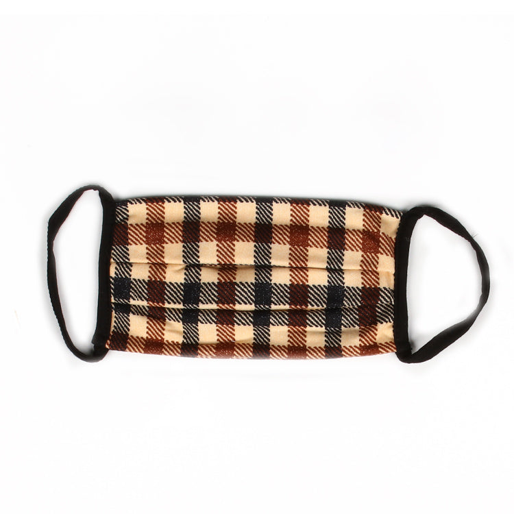 Taupe Plaid Mask