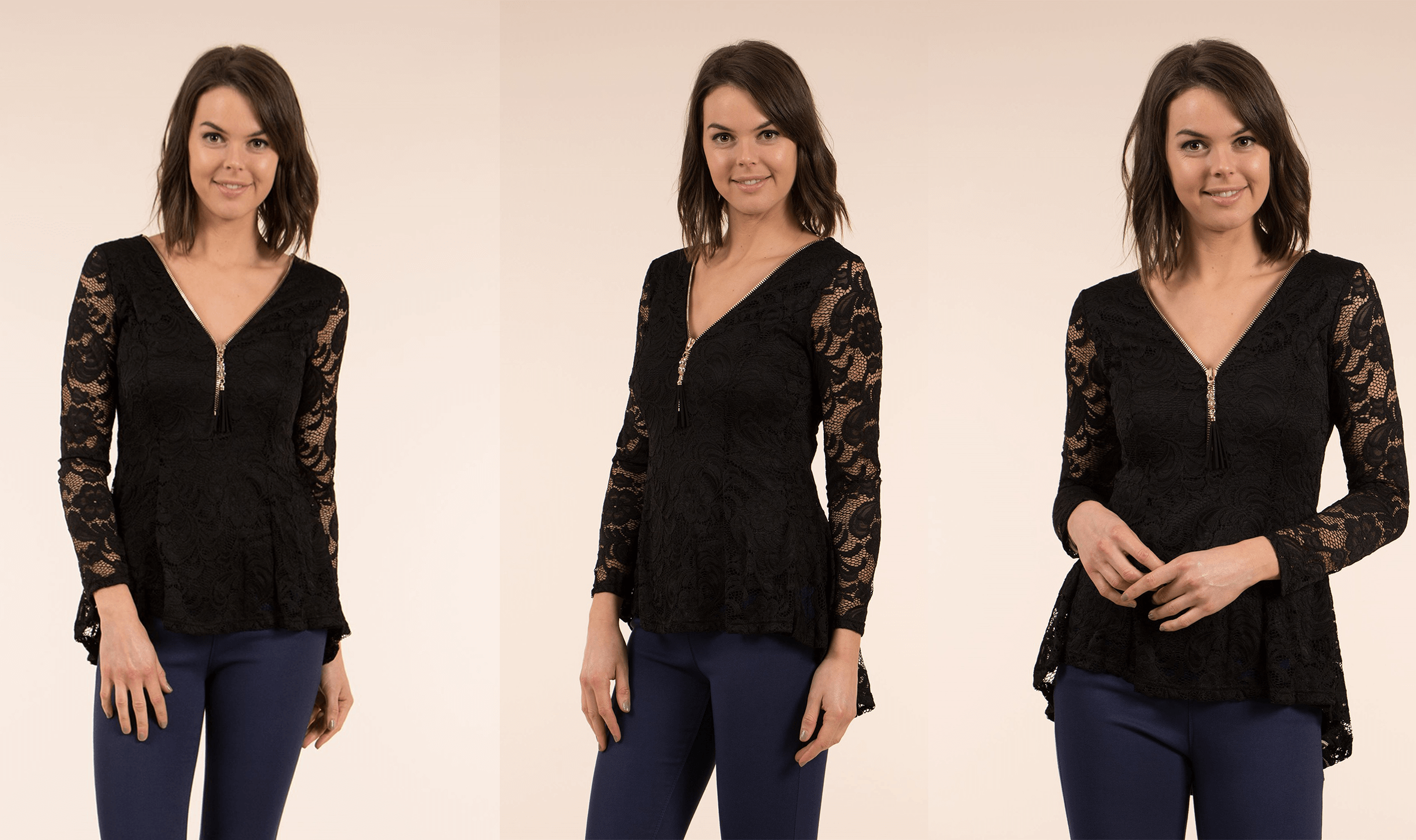 Jeans and A Nice Top - Lace Peplum Top | Femme Connection