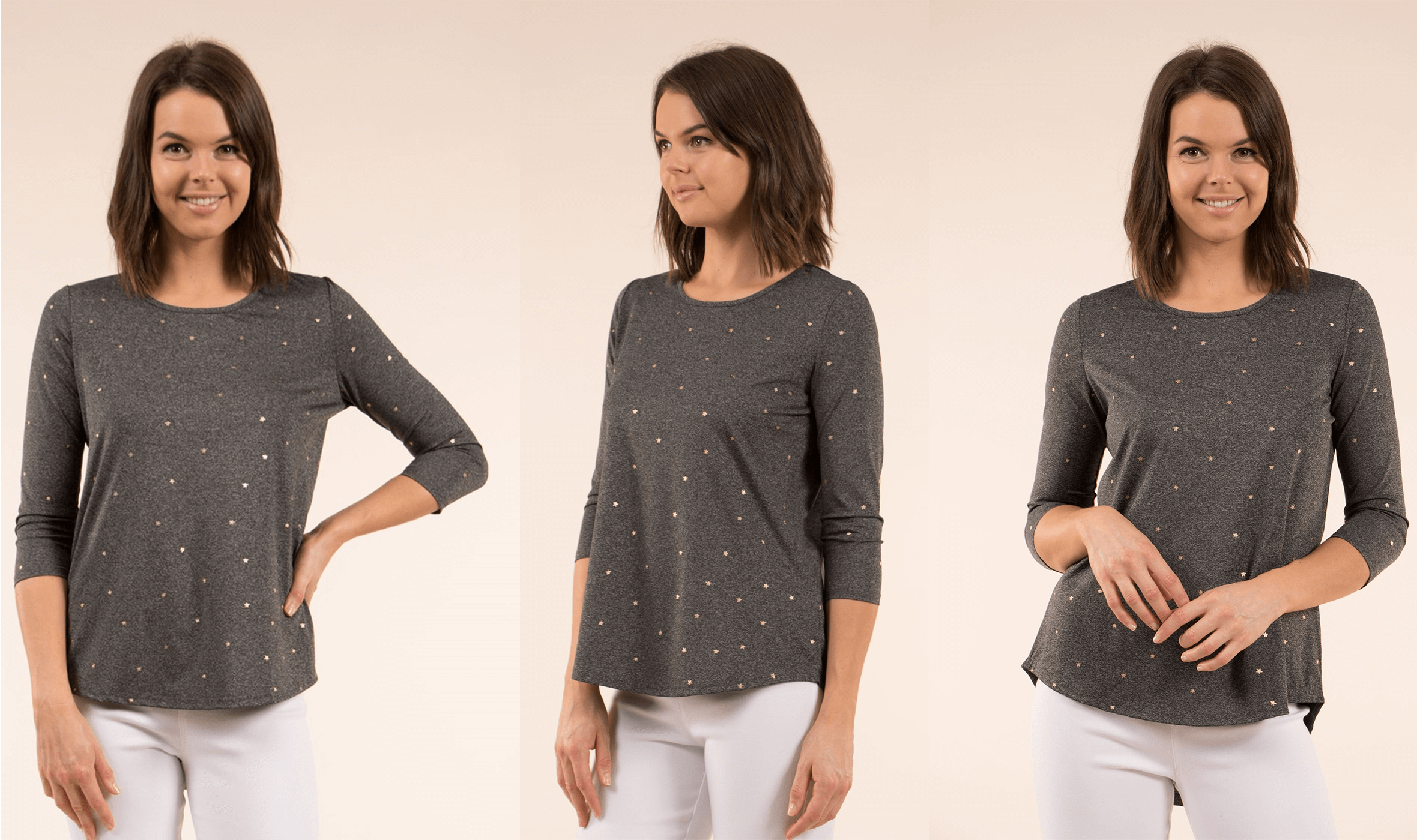 Metallic Magic - Star Print Dip Back Top | Femme Connection