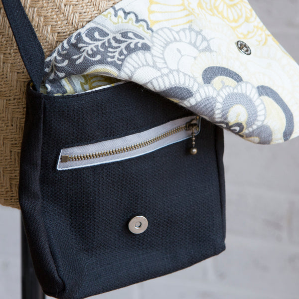 the Little Black Bag - grey yellow