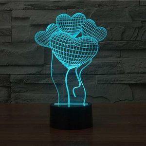 Heart Balloons 3D Illusion Lamp - Lampeez