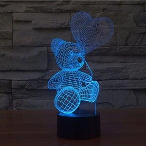 Teddy With Balloon 3D Illusion Lamp - Lampeez