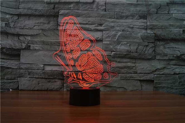 Butterfly Wings 3d Optical Led Illusion Lamp Lampeez