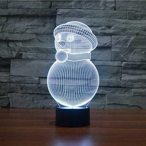 Cute Snowman 3D Illusion Lamp - Lampeez