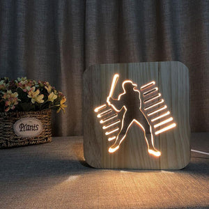 Baseball Player Wooden Lamp - Lampeez