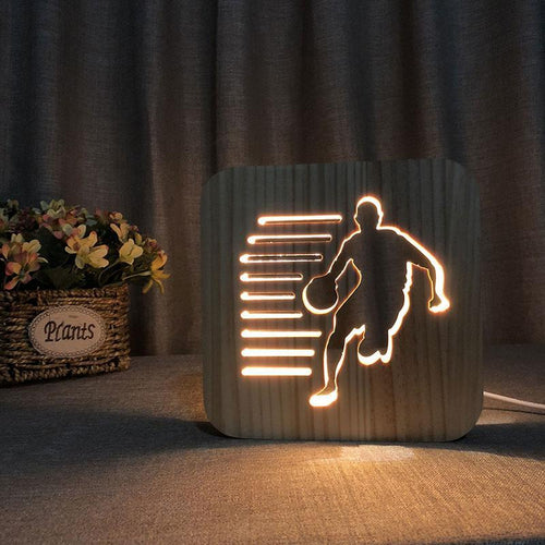 Basketball Player Wooden Lamp - Lampeez