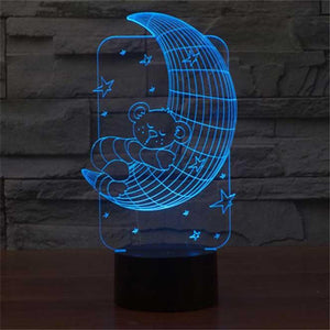 Teddy On Moon 3D Illusion Lamp - Lampeez