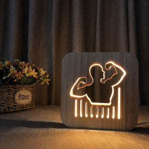 Bodybuilder Wooden Lamp - Lampeez