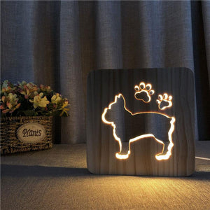 Bulldog Wooden Lamp - Lampeez