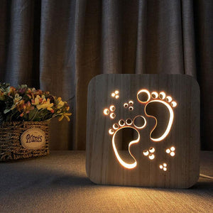 Baby Footprints Wooden Lamp - Lampeez