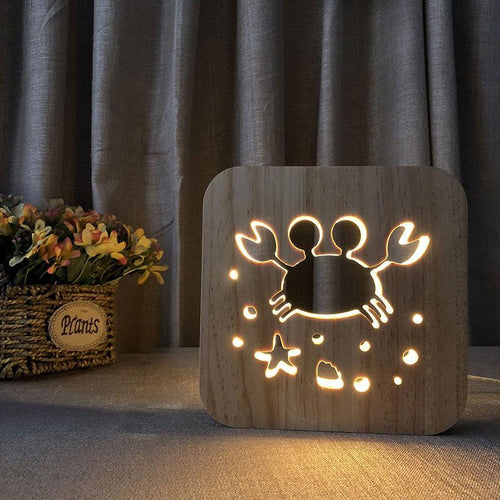 Crab Wooden Lamp - Lampeez