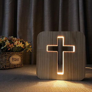 Cross Wooden Lamp - Lampeez