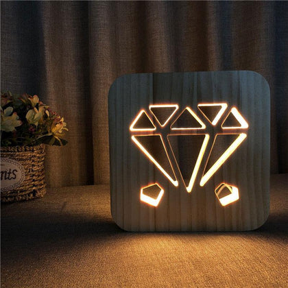 Diamond Wooden Lamp