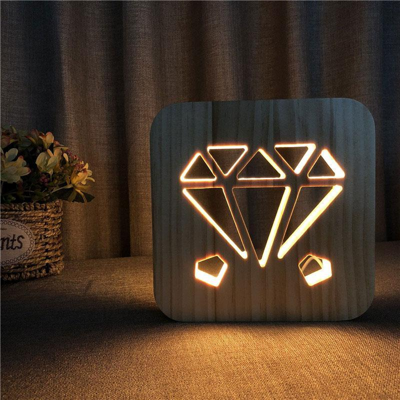 Diamond Wooden Lamp - Lampeez