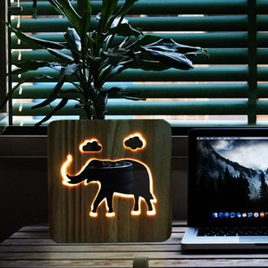 Elephant Wooden Lamp - Lampeez