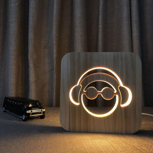 Headphones Wooden Lamp - Lampeez