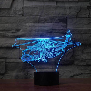 Military Helicopter 3D Illusion Lamp - Lampeez