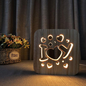 I Love You Wooden Lamp - Lampeez