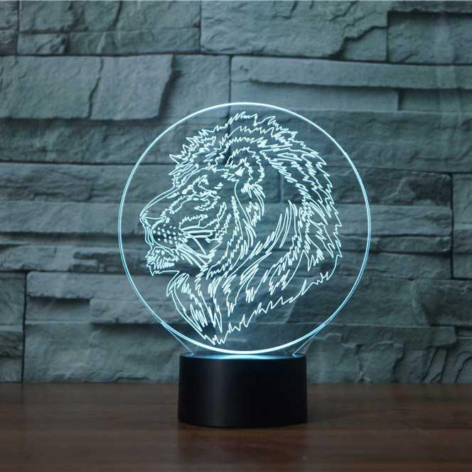 Iconic Lion Head 3D Illusion Lamp - Lampeez