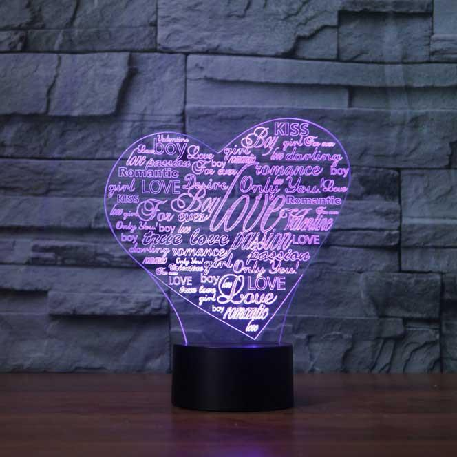 Heart Collage 3D Illusion Lamp - Lampeez