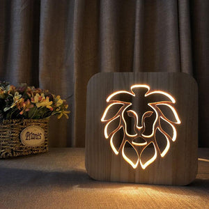 Lion Wooden Lamp - Lampeez