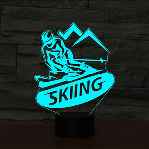 Skiing 3D Illusion Lamp - Lampeez