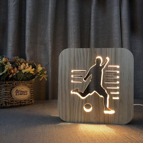 Soccer Player Wooden Lamp - Lampeez