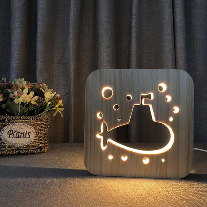 Submarine Wooden Lamp