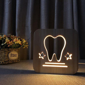 Tooth Wooden Lamp - Lampeez