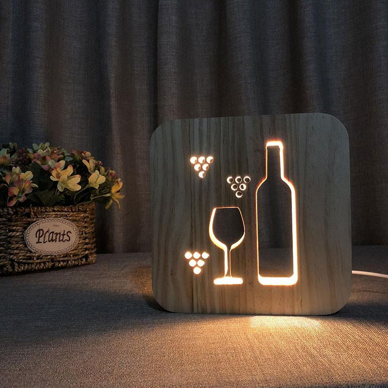 Wine Wooden Lamp - Lampeez