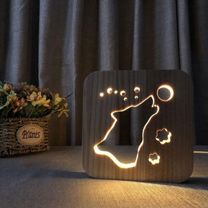 Wolf Wooden Lamp - Lampeez