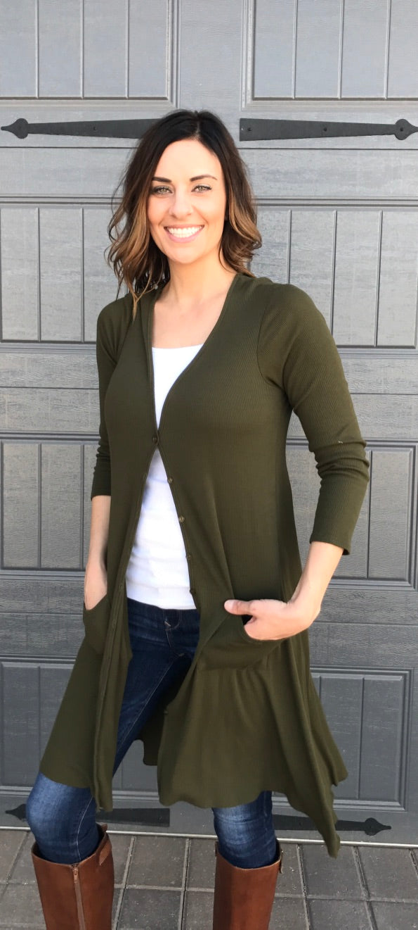 Button Front Long Sleeve Knit Cardigan with Pockets