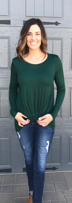 Solid Long Sleeve Twisted Front Accent Hem Top