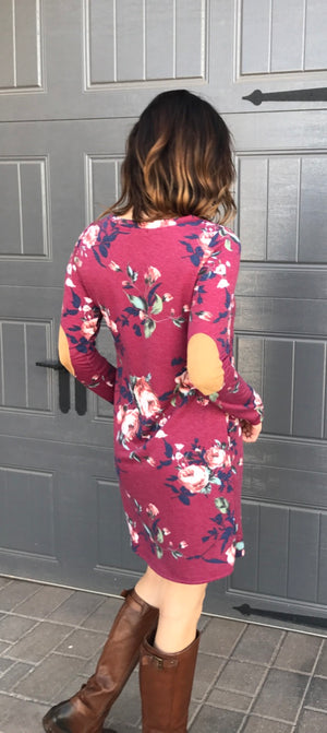 Long Sleeve Floral Print Dress with Suede Elbow Patch